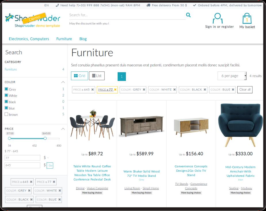 ShopInvader dispose d'un moteur de recherche intégré permettant la mise en place de filtre a facette sur les produits et les catégories de votre catalogue.